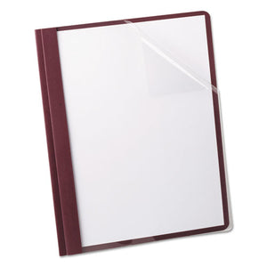 Linen Finish Clear Front Report Cover, 3 Fasteners, Letter, Burgundy, 25-box