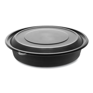 "Earthchoice Mealmaster Bowls With Lids, 48 Oz, 10.13"" Diameter X 2.13""h, 1-compartment, Black-clear, 150-carton"