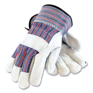 Shoulder Split Cowhide Leather Palm Gloves, B-c Grade, Medium, Blue-gray, 12 Pairs