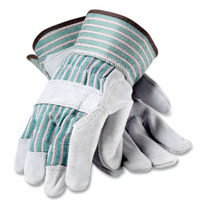Bronze Series Leather-fabric Work Gloves, Medium (size 8), Gray-green, 12 Pairs
