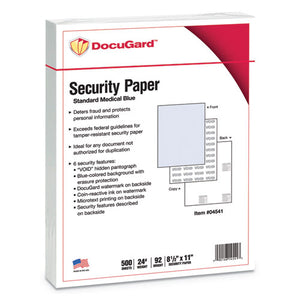 ESPRB04541 - Standard Medical Security Paper, Blue, 6 Features, 8 1-2 X 11, 500-ream