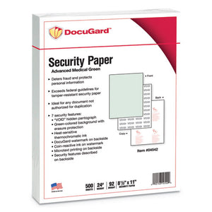 ESPRB04542 - ADVANCED MEDICAL SECURITY PAPER, GREEN, 7 FEATURES, 8 1-2 X 11, 500-REAM