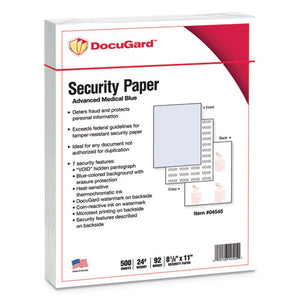 ESPRB04545 - Advanced Medical Security Paper, Blue, 7 Features, 8 1-2 X 11, 500-ream