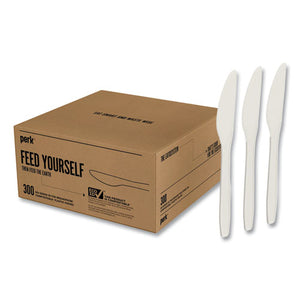 Eco-id Compostable Cutlery, Knife, White, 300-pack