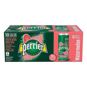 Sparkling Natural Mineral Water, Watermelon, 8.45 Oz Can, 10 Cans-pack