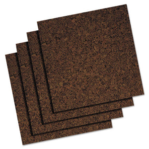 ESQRT101 - Cork Panel Bulletin Board, Brown, 12 X 12, 4 Panels-pack