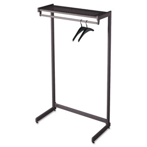 "ESQRT20214 - Single-Side Garment Rack W-shelf, Powder Coated Textured Steel, 48"" Wide, Black"