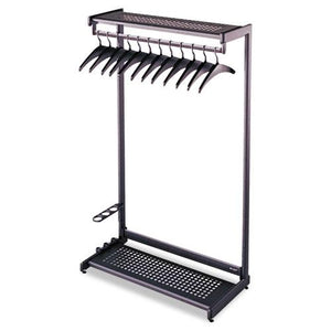 "ESQRT20222 - Single-Side, Garment Rack W-two Shelves, Eight Hangers, Steel, 24"" Wide, Black"
