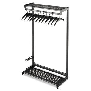 "ESQRT20224 - Single-Sided Rack W-two Shelves, 12 Hangers, Steel, 48"" Wide, Black"