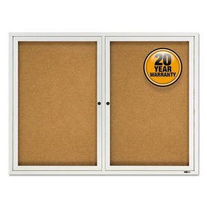 "ESQRT2124 - Enclosed Cork Bulletin Board, Cork-fiberboard, 48"" X 36"", Silver Aluminum Frame"