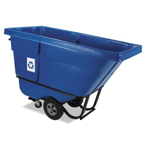 ESRCP130573BLU - Rotomolded Recycling Tilt Truck, Rectangular, Plastic, 850 Lb. Cap., Blue