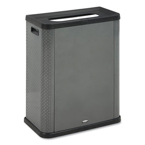Elevate Decorative Refuse Container, Landfill, 23 Gal, 25.14 X 12.8 X 31.5, Pearl Dark Gray