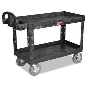 ESRCP454610BLA - Heavy-Duty 2-Shelf Utility Cart, Pneumatic Wheels, 25-1-4w X 54d X 39-1-4h, Bk