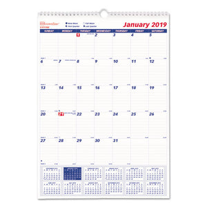 ESREDC171102 - ONE MONTH PER PAGE TWIN WIREBOUND WALL CALENDAR, 12 X 17, 2019