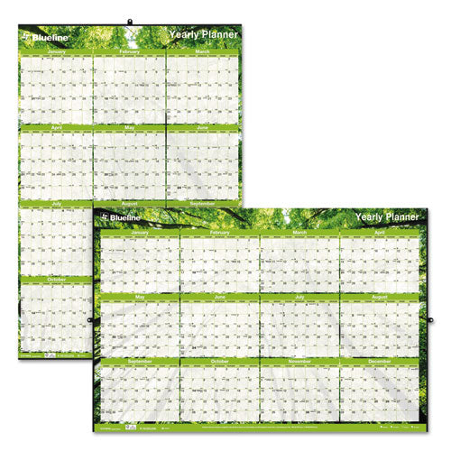 ESREDC171910 - YEARLY LAMINATED WALL CALENDAR, 36 X 24, GREEN, 2019