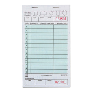 "ESRPPGC47972B - GUEST CHECK BOOK, TWO-PART CARBONLESS, 4 1-5"" X 7 3-4"", 1-PAGES, 2000 FORMS"