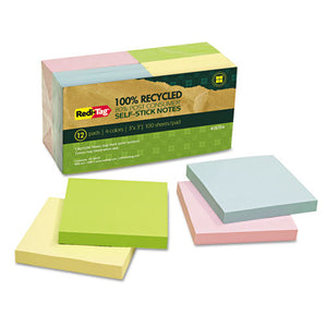 ESRTG26704 - 100% Recycled Notes, 3 X 3, Four Colors, 12 100-Sheet Pads-pack