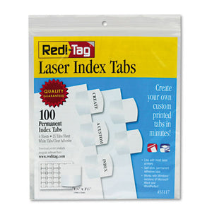 ESRTG33117 - Laser Printable Index Tabs, 1 1-8 Inch, White, 100-pack