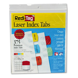 ESRTG39020 - Laser Printable Index Tabs, 1 1-8 X 1 1-4, 5 Colors, 375-pack