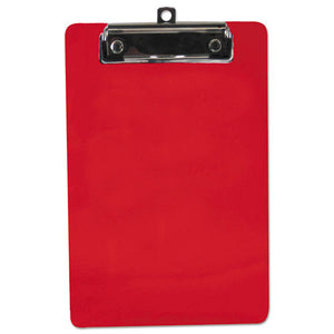 "ESSAU00518 - Plastic Clipboard, 1-2"" Capacity, 6 X 9 Sheets, Red"