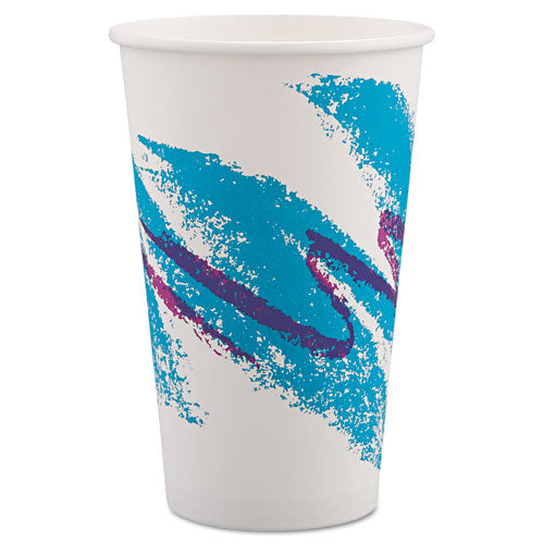 ESSCC316JZJ - Jazz Paper Hot Cups, 16oz, Polycoated, White-green-purple, 1000-carton