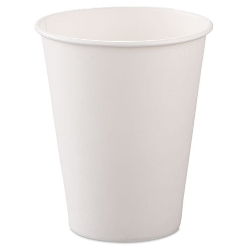 ESSCC378W2050 - Single-Sided Poly Paper Hot Cups, 8oz, White, 50-bag, 20 Bags-carton