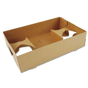 ESSCH0120 - 4-Corner Pop-Up Food And Drink Tray, 4-Cup, 10x6.5x2.5, Brown, 250-carton
