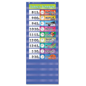ESSHS511498 - Daily Schedule Pocket Chart, 13 X 33, Blue-clear