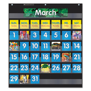 "ESSHS583866 - MONTHLY CALENDAR POCKET CHART, 43 POCKETS, 25"" X 27.75"", BLACK"
