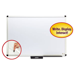 "ESSMD02571 - Justick Premium Aluminum-Frame Electro-Surface Bulletin Board, 36"" X 24"", White"
