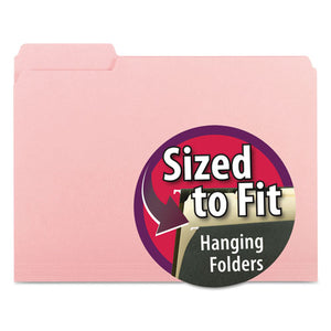 ESSMD10263 - Interior File Folders, 1-3 Cut Top Tab, Letter, Pink, 100-box