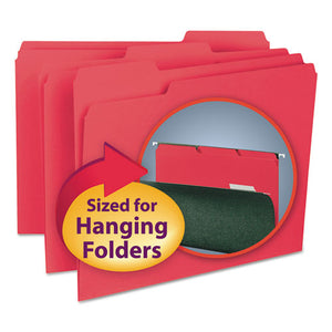 ESSMD10267 - Interior File Folders, 1-3 Cut Top Tab, Letter, Red, 100-box