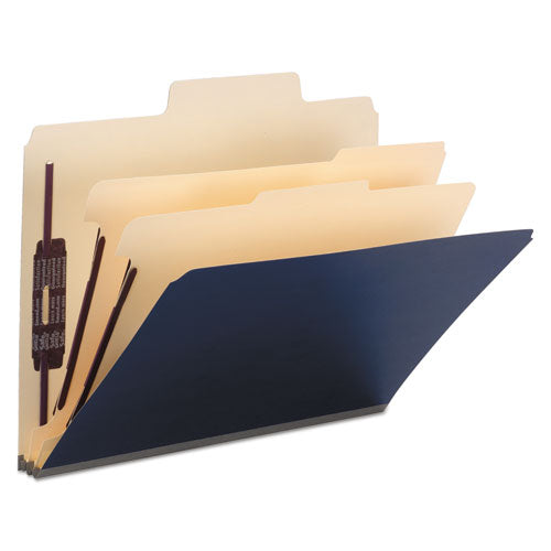 ESSMD14010 - SUPERTAB COLORED TOP TAB CLASSIFICATION FOLDERS, 6 SECTIONS, DARK BLUE, 10-BOX