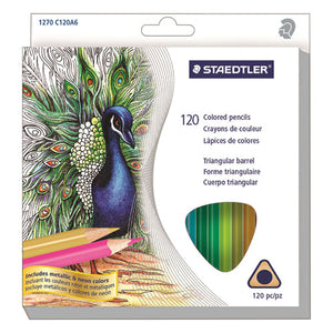 ESSTD1270C120 - TRIANGULAR COLORED PENCIL SET, SOFT, ASSORTED LEAD, 120-SET