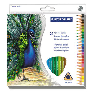 ESSTD1270C24A6 - Triangular Colored Pencil Set, H-#3, 2.9mm, 24 Assorted Colors