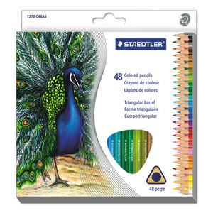 ESSTD1270C48A6 - Triangular Colored Pencil Set, H-#3, 2.9mm, 48 Assorted Colors