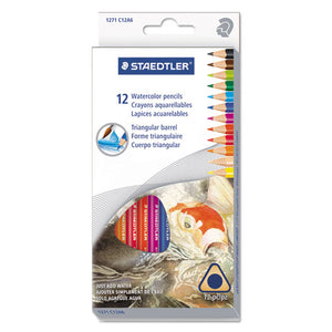 ESSTD1271C12A6 - Triangular Watercolor Pencil Set, H-#3, 2.9mm, 12 Assorted Colors