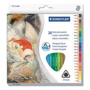 ESSTD1271C24A6 - Triangular Watercolor Pencil Set, H-#3, 2.9mm, 24 Assorted Colors