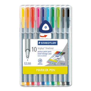 ESSTD334SB10A6 - Triplus Fineliner Marker, Super Fine, Water-Based, 10 Color Set