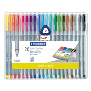 ESSTD334SB20A6 - Triplus Fineliner Marker, Super Fine, Water-Based, 20 Color Set