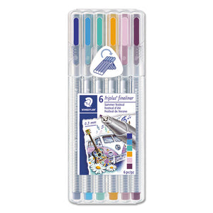 ESSTD334SB6S1A6 - TRIPLUS FINELINER, BLUE-GOLD-LAVENDER-LIGHT BLUE-LIME GREEN-VIOLET INK, 6-SET