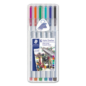 ESSTD334SB6S2A6 - TRIPLUS FINELINER, BLACK-BLUE-CYAN-GREEN-MAGENTA-ORANGE INK, 6-SET