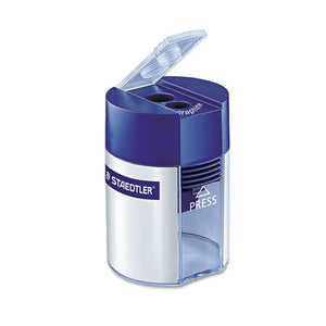 ESSTD512001A6 - Handheld Manual Double-Hole Cylinder Pencil Sharpener, Blue-silver