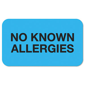 "ESTAB01510 - ""No Known Allergies"" Medical Labels, 7-8 X 1-1-2, Light Blue, 250-roll"