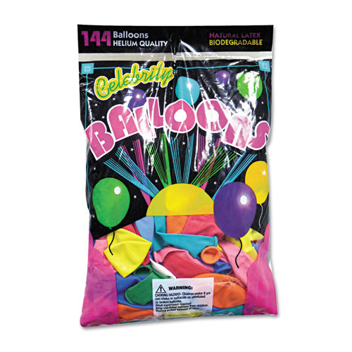 ESTBL1200 - HELIUM QUALITY LATEX BALLOONS, 12 ASSORTED COLORS, 144-PACK