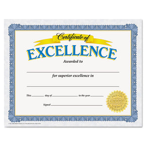 ESTEPT11301 - Awards And Certificates, Excellence, 8 1-2 X 11, White-blue-gold
