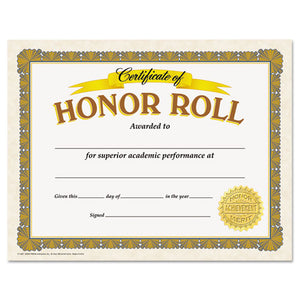 ESTEPT11307 - Awards And Certificates, Honor Roll, 8 1-2 X 11, White-brown-gold