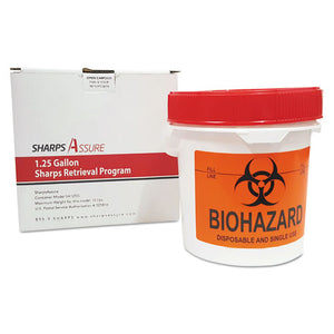 ESTMDSC1G42425G - SHARPS RETRIEVAL PROGRAM CONTAINERS, 1.25 GAL, PLASTIC, RED