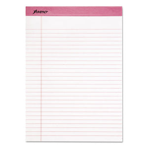 ESTOP20098 - Pink Writing Pad, Legal-wide, 8 1-2 X 11, Pink, 50 Sheets, 6-pack