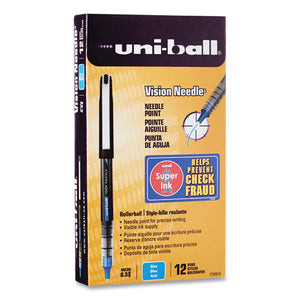 Vision Roller Ball Pen, Stick, Micro 0.5 Mm, Blue Ink, Black-blue Barrel, 12-pack